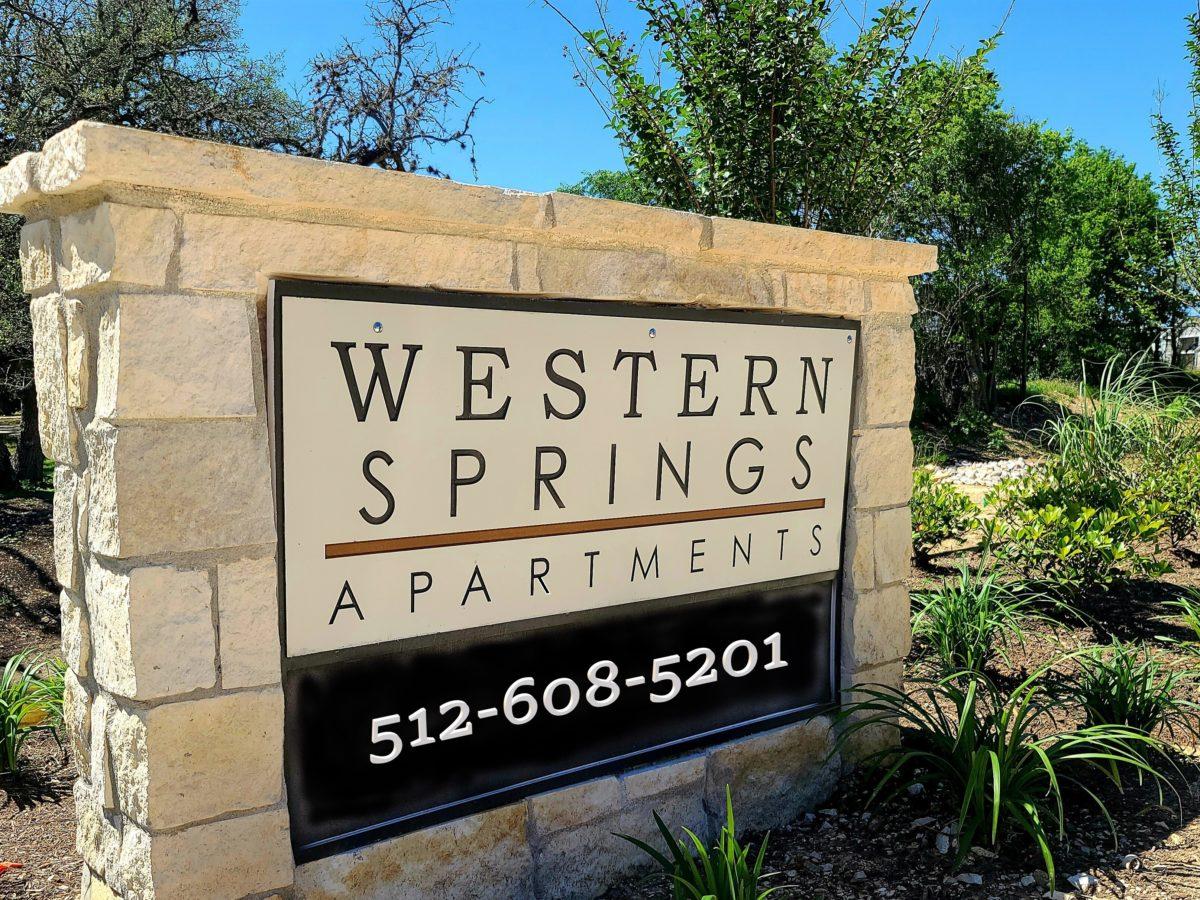 Western Springs Apartments Driping Springs TX Sign