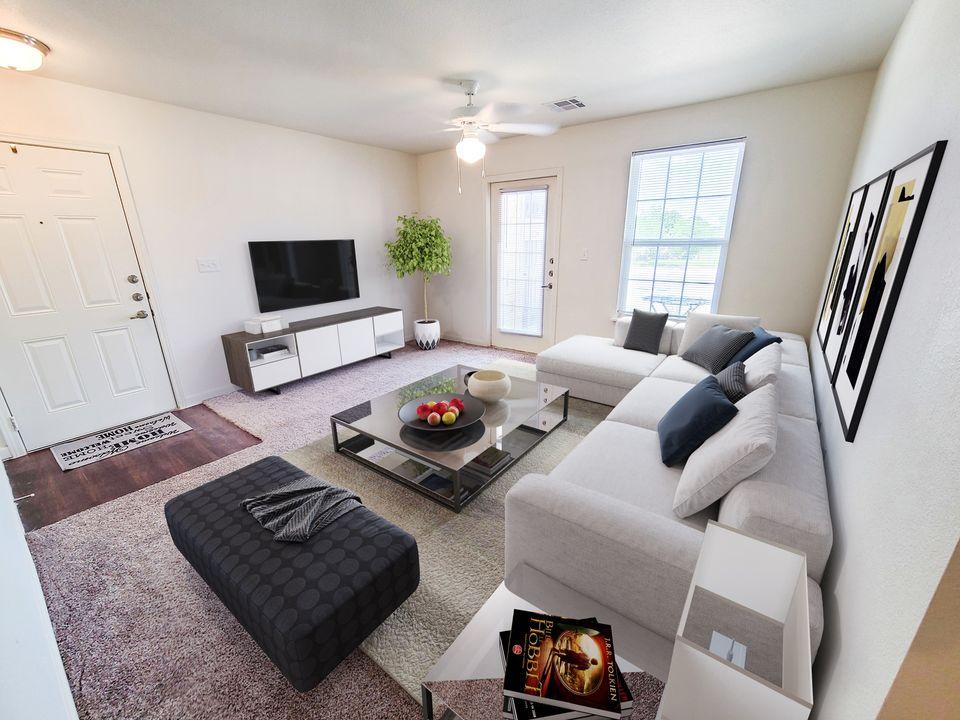 Western Springs Apartments Dripping Springs TX model living room